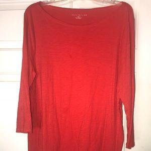 Ann Taylor Loft Factory Red-Orange 3/4 Sleeve Top